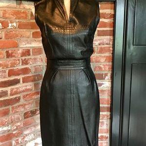 Rare Vintage Lillie Rubin Black Leather Dress